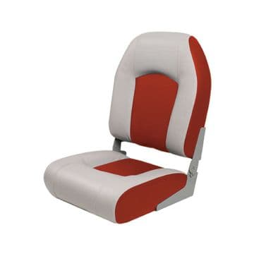 MARINE DELUXE HIGH BACK BOAT SEAT - GREY/RED (75182GR) yacht fishing speedboat